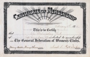 Certificate of Membership Wednesday Club